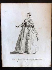 Jefferys C1760 Theatre Costume Print. Imoinda in the Tragedy of Oroonoko